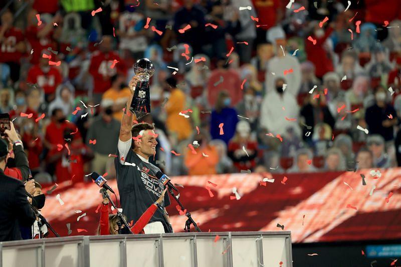 Super Bowl LV Tom Brady celebrates