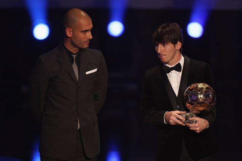 Lionel Messi (right) with the 2010 Ballon d'Or.