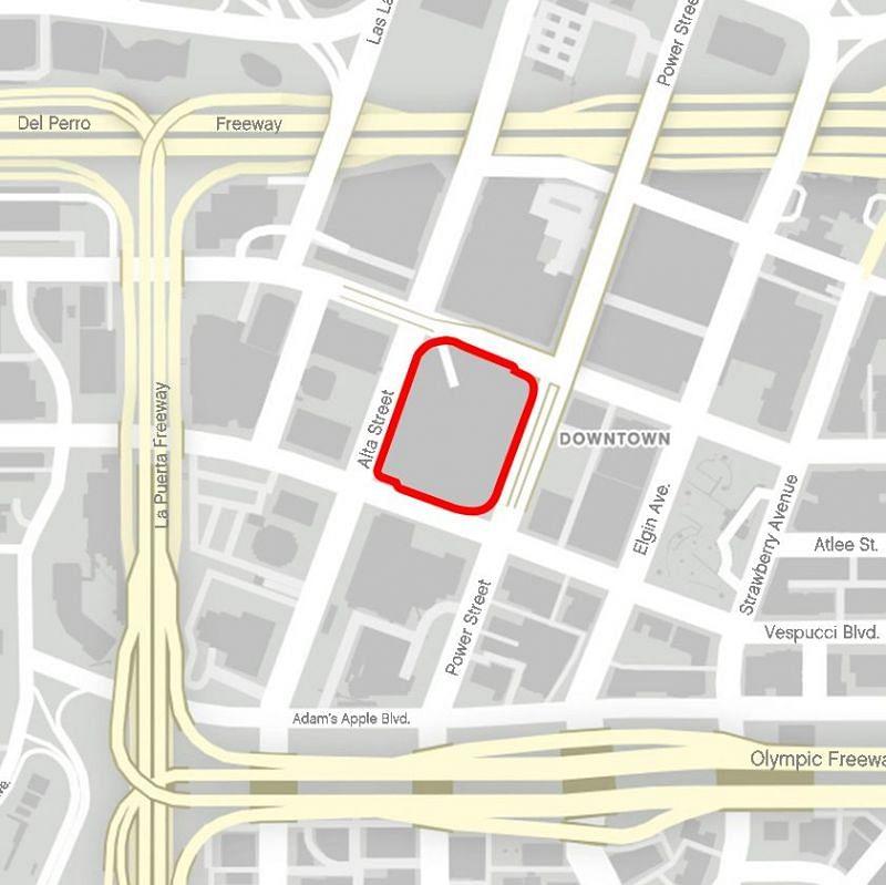 GTA 在线模式中迷宫银行大厦的位置(图片来自 GTA Wiki)