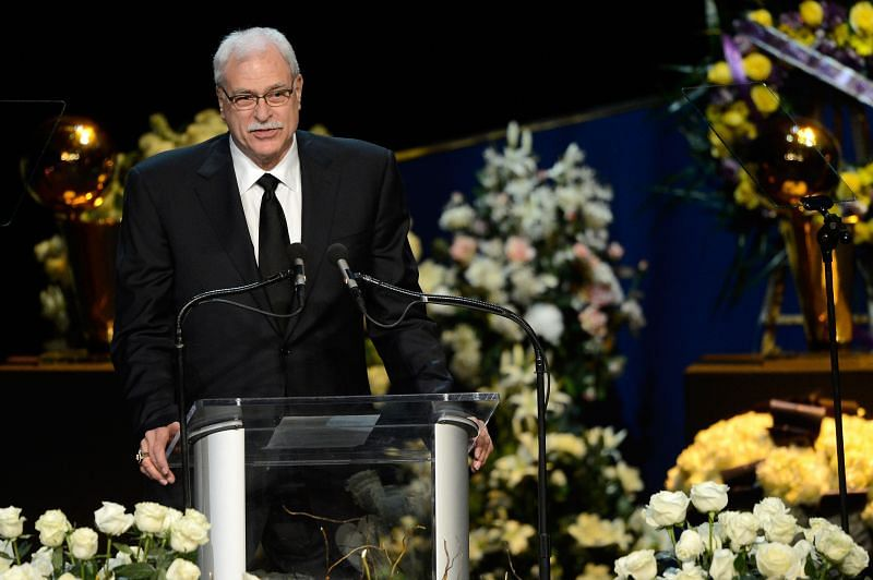 Phil Jackson, former Los Angeles Lakers head coach, speaks during a memorial service for Los Angeles Lakers owner Dr. Jerry Buss at the Nokia Theatre L.A. Live on February 21, 2013 in Los Angeles, California. Dr. Buss died at the age of 80 on Monday following an 18-month battle with cancer. Buss won 10 NBA championships as Lakers owner since purchasing the team in 1979