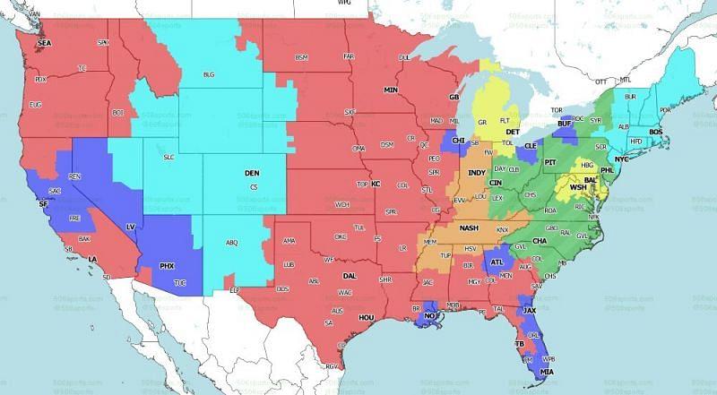 แผนที่ครอบคลุม CBS สำหรับเกมในสัปดาห์ที่ 3