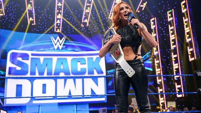 Becky Lynch cutting a promo on SmackDown