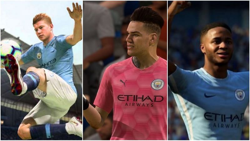Kevin De Bruyne, Ederson, and Raheem Sterling are the highest rated Manchester City players in FIFA 22 (Image via EA Sports - FIFA 22)