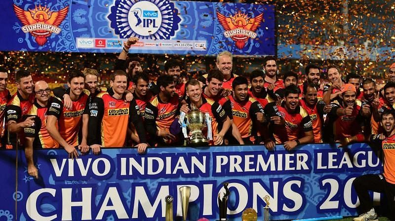 Sunrises Hyderabad celebrating their IPL win