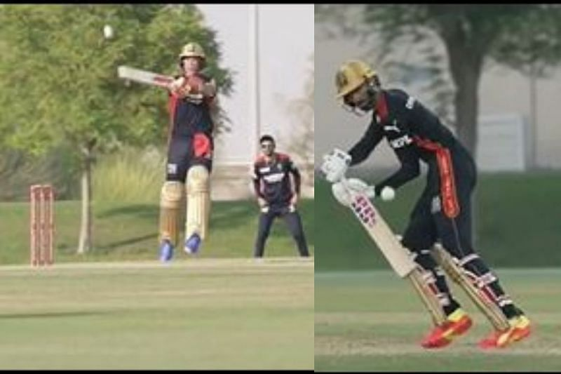 AB de Villiers (Left) and Devdutt Padikkal (Right) in action for RCB A and B respectively (PC: RCB Instagram)