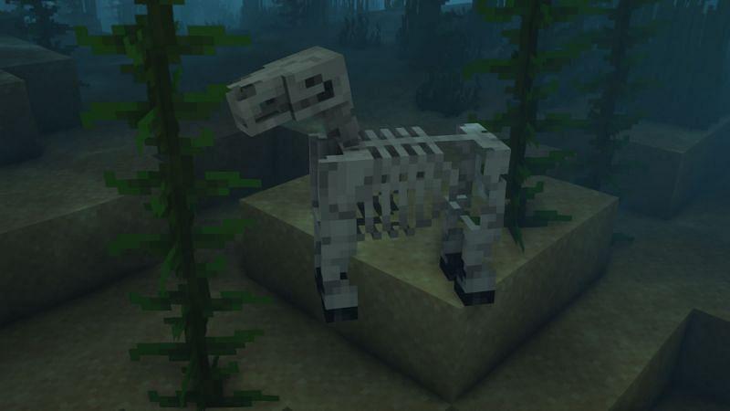 A skeleton horse underwater (Image via Minecraft)