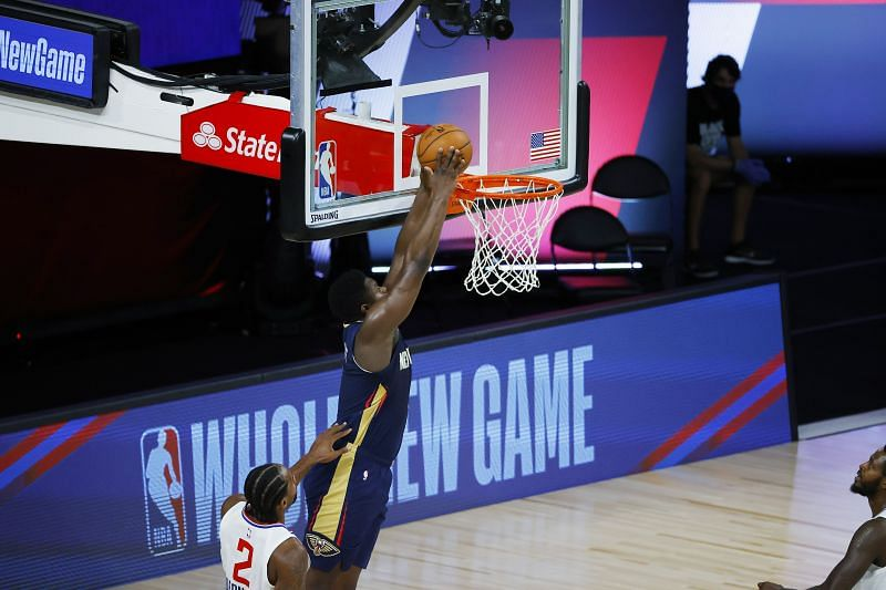 <a href='https://www.sportskeeda.com/player/zion-williamson' target='_blank' rel='noopener noreferrer'>Zion Williamson</a> of the New Orleans Pelicans goes up for a dunk