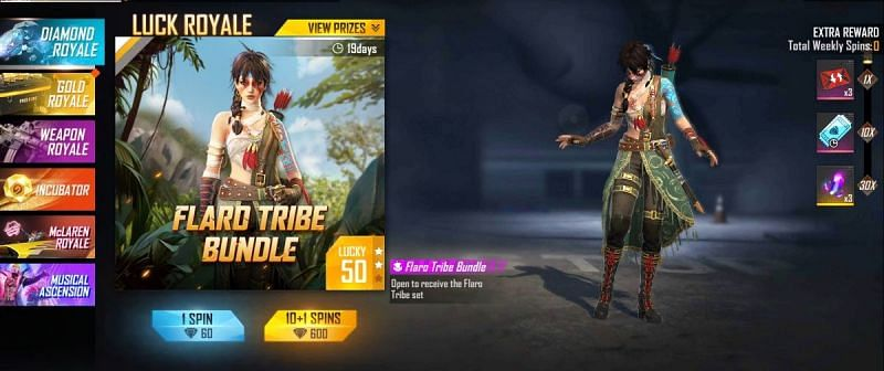 How to get Flaro Tribe Bundle from Free Fire Diamond Royale event