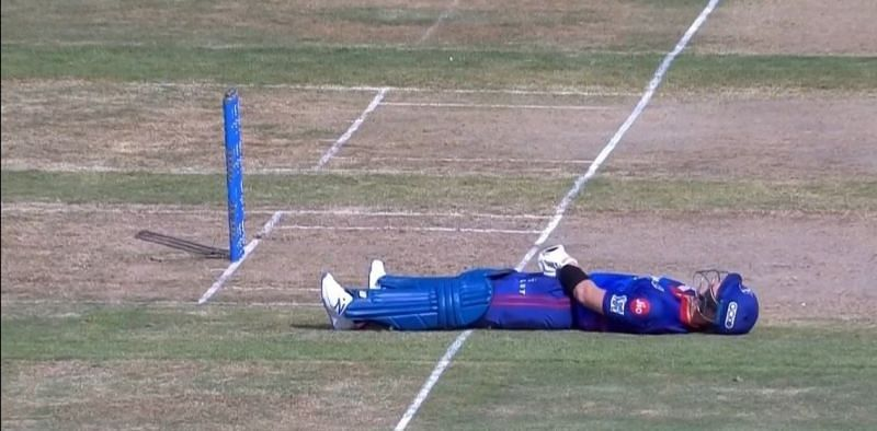 IPL 2021: Steve Smith was left wincing in pain after he inside-edged a ball onto his groin.