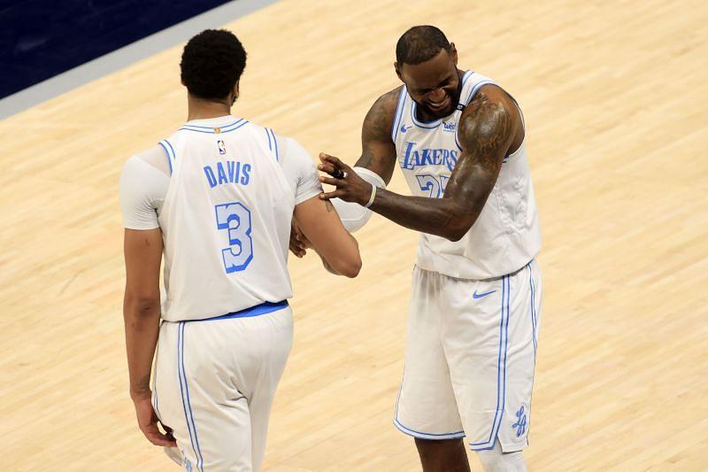 LA Lakers' Anthony Davis (left) and LeBron James