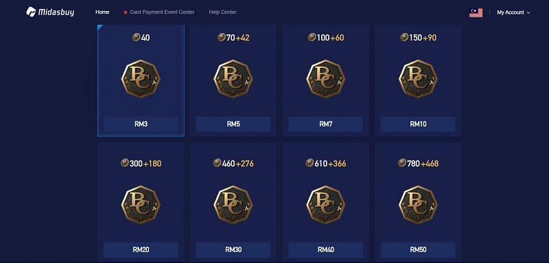 Opções de recarga de Battle Coins (Imagem via Midasbuy)