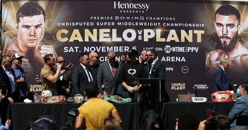 Eddie Hearn gives his thoughts on the insane altercation between Canelo Alvarez and Caleb Plant from their press conference
