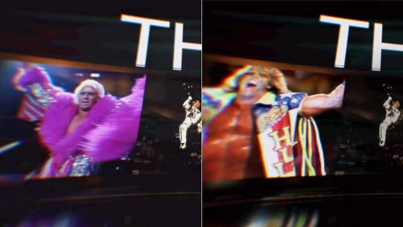WWE's old and new introduction video: Ric Flair (left), The Ultimate Warrior (right)