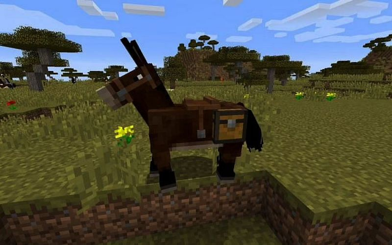 An image of Minecraft mule in a savanna biome (Image via Minecraft)
