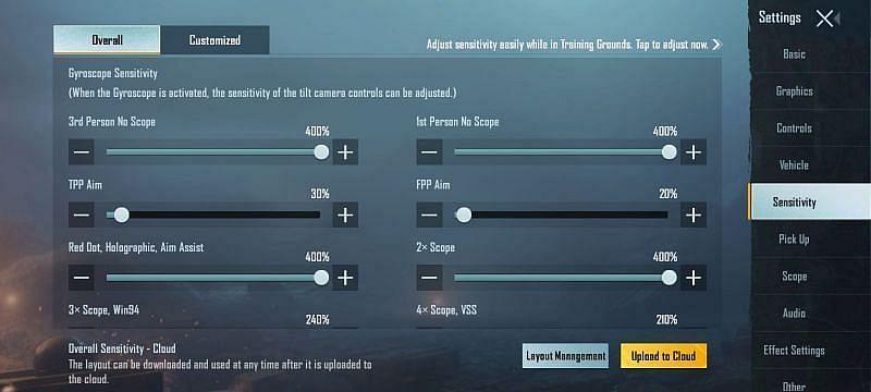 PUBG Mobile gyro sensitivity settings for thumb players (Image via PUBG Mobile)