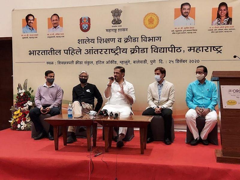 Maharashtra sports minister Sunil Kedar (C) at the proposed International Sports University