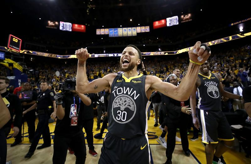 Steph Curry celebrates after a game with the Portland Trail Blazers