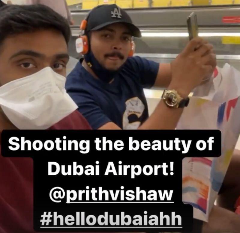 Ravichandran Ashwin and Prithvi Shaw on arrival in Dubai