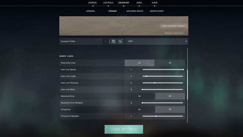 Settings for modified dot crosshair (Image via Riot Games)
