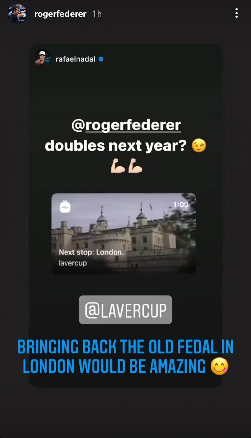 Here's a screenshot of Roger Federer's reply to Rafael Nadal