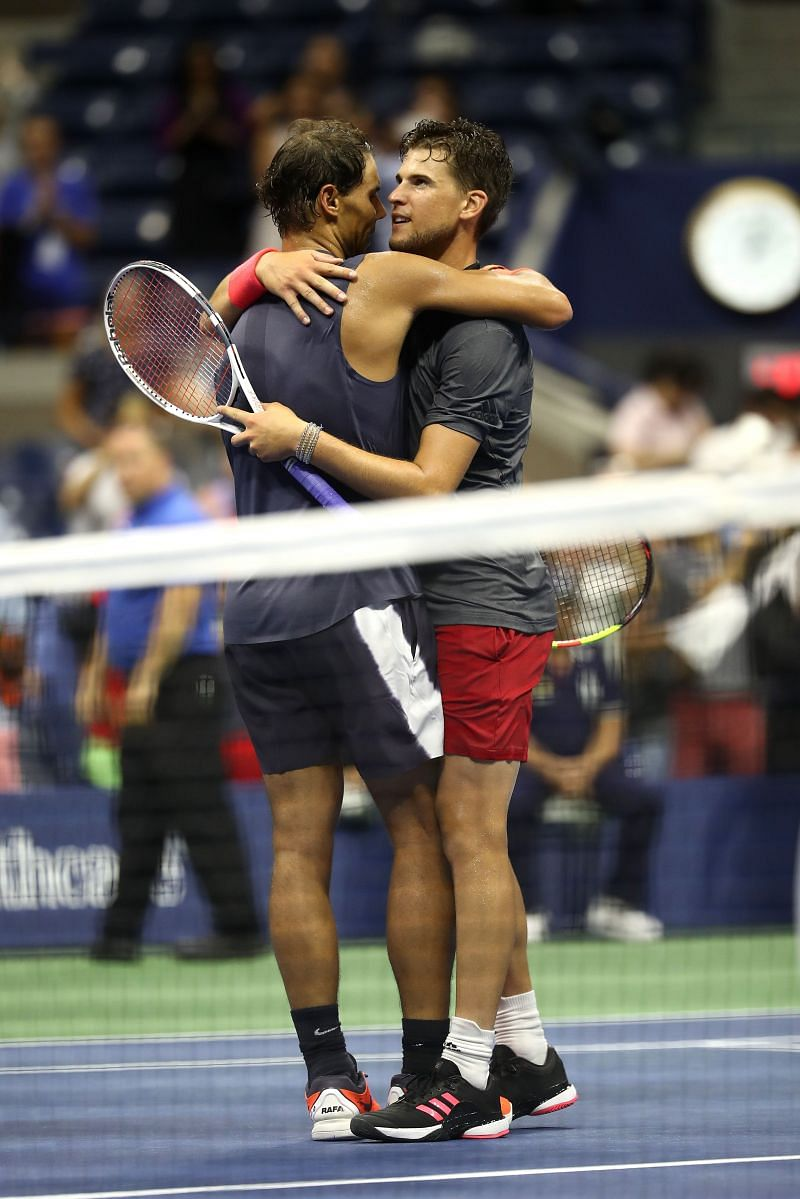 Rafael Nadal (L) and Dominic Thiem after their five-set thriller in the 2018 US Open quarterfinal