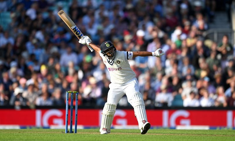 Shardul Thakur celebrates during the fourth Test between England and India.