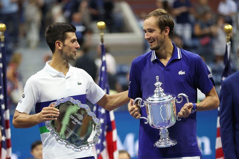 You're the greatest tennis player of all time, says <a href='https://www.sportskeeda.com/player/daniil-medvedev' target='_blank' rel='noopener noreferrer'>Daniil Medvedev</a> to <a href='https://www.sportskeeda.com/player/novak-djokovic' target='_blank' rel='noopener noreferrer'>Novak Djokovic</a>