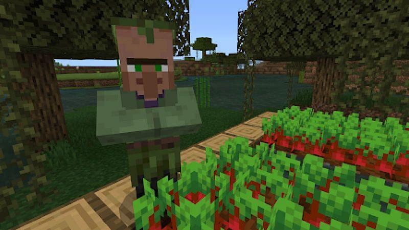 A Minecraft swamp villager tending a farm (Image via Minecraft)