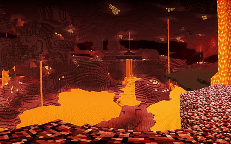 The Nether can be a wonderful place to build your base in Minecraft. Image via Mojang).