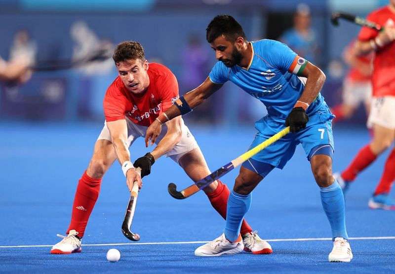 Indian men's hockey team skipper Manpreet Singh in action at the Tokyo Olympics.