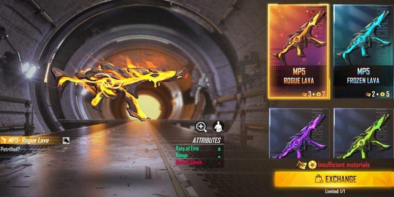 Free Fire में MP5 की न्यू Rogue Lava स्किन के बारे में महत्वपूर्ण जानकारी
