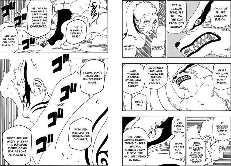 Kurama explains the Baryon Mode to Naruto in the Boruto: Naruto Next Generations manga (Image via Fandomwiki)