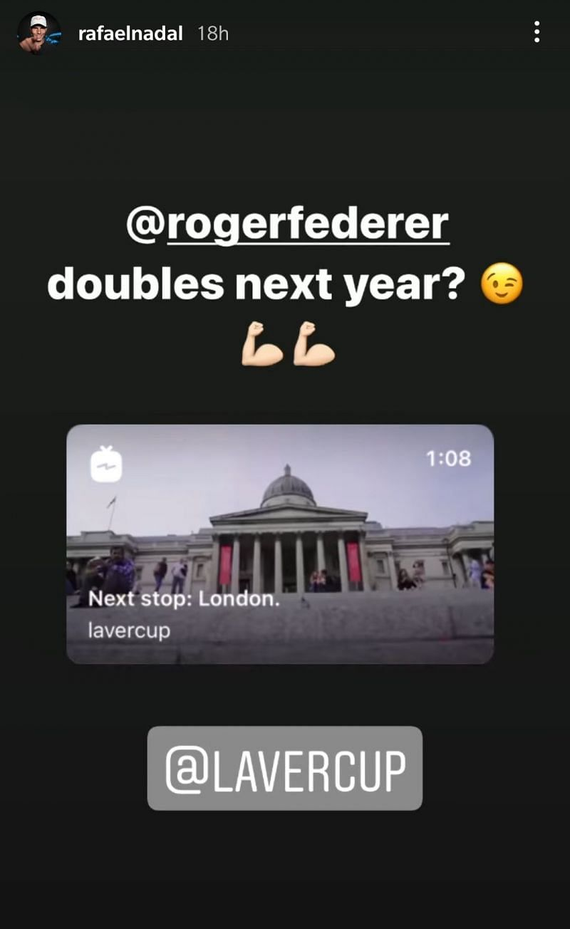 Here's a screenshot of Rafael Nadal's Instagram story that started it all