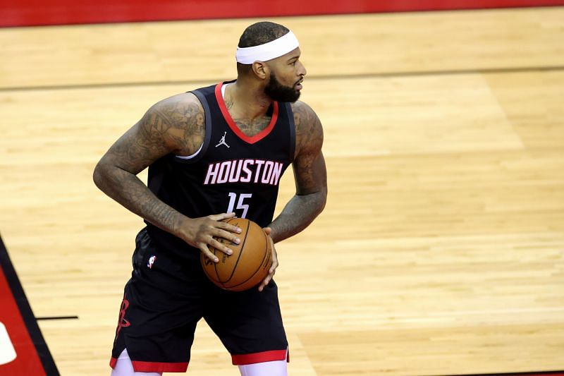 DeMarcus Cousins #15 of the Houston Rockets in action against the Miami Heat during a game at the Toyota Center on February 11, 2021 in Houston, Texas.