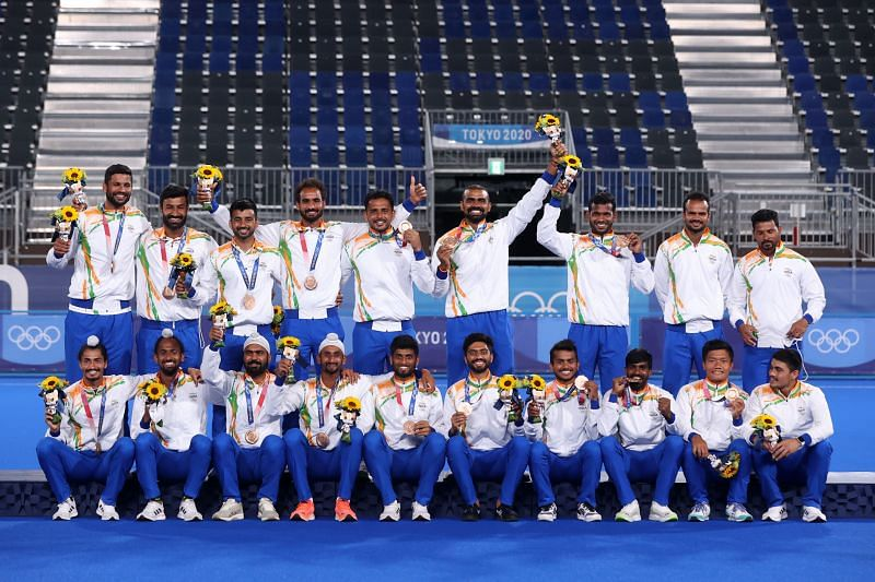 The Indian men's hockey team, a member of SAI's TOPS, after winning the bronze medal at the Tokyo Olympics.