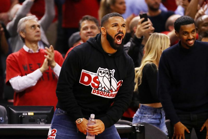 Drake cheering on the Toronto Raptors from courtside during the 2019 Eastern Conference Finals