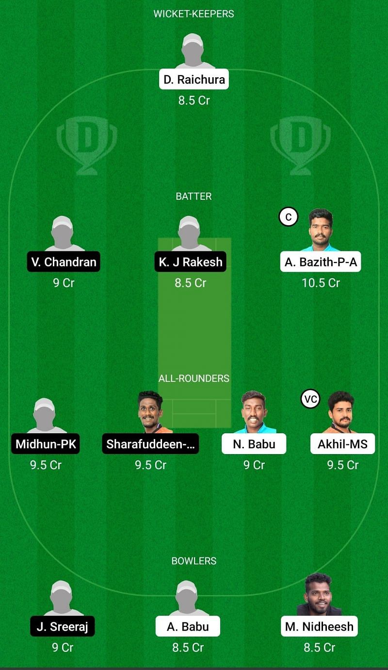 Dream11 Team for Tripunithura Cricket Club vs Prathibha Cricket Club - Kerala Club Championship 2021.