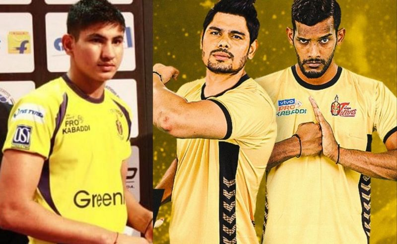 Sandeep Kandola (left), Rohit Kumar (center) and Siddharth Desai (right) have joined the Telugu Titans for PKL 8..