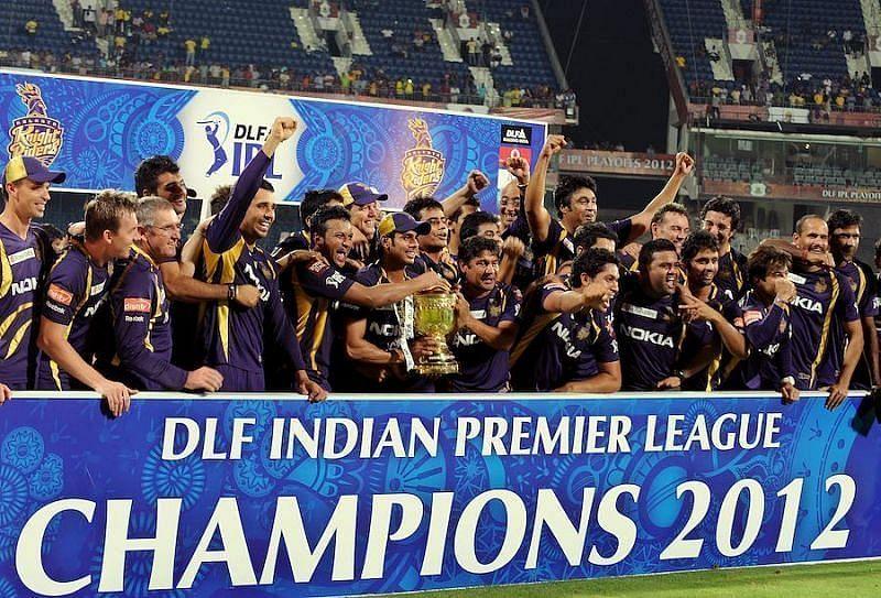 Kolkata Knight Riders celebrating their IPL win