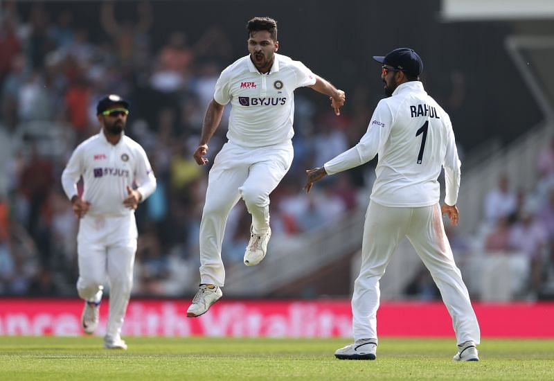 Shardul Thakur is pumped up after taking the wicket of Rory Burns. Pic: Getty Images