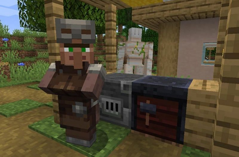 An armorer villager can have trades for chainmail armor. (Image via Minecraft)