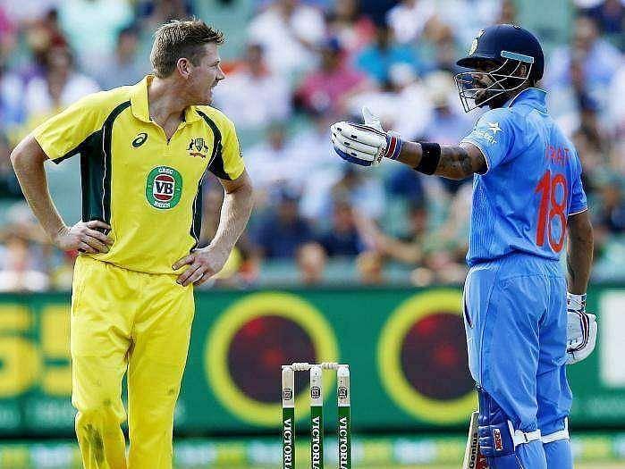 Virat Kohli and James Faulkner in a heated moment