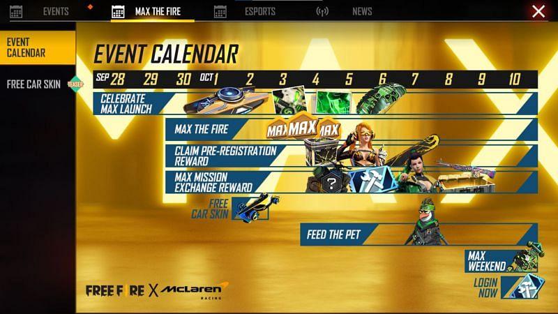The revealed-recently event calendar (Image via Free Fire)