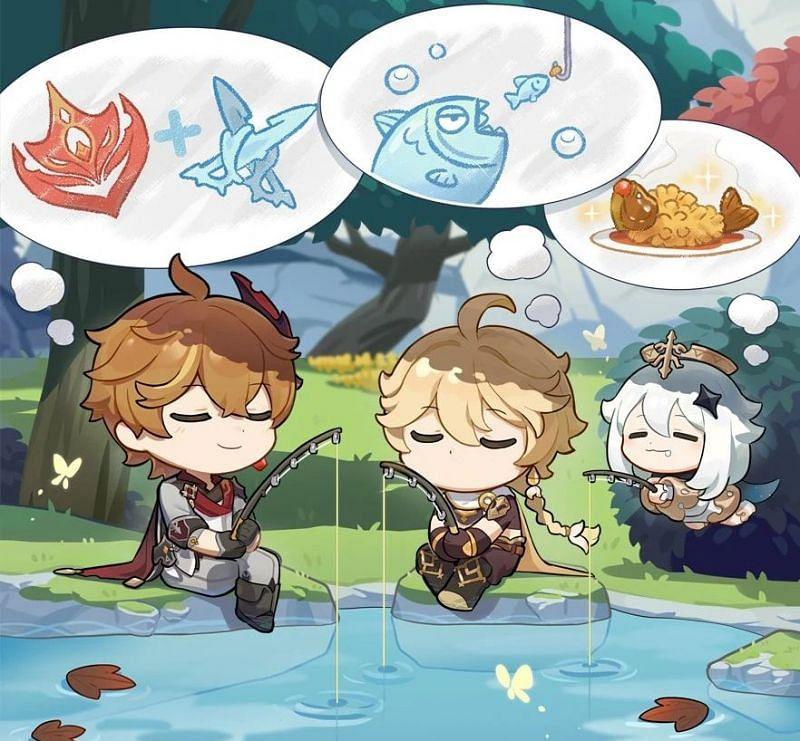 Childe fishing artwork (Image via Genshin Impact Wiki)