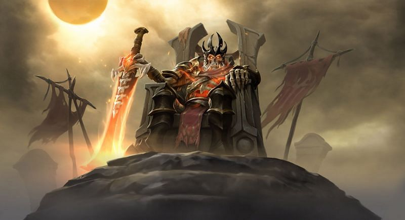 Wraith King's arcana calls back his old 'Skeleton King' model from the earlier Dota 2 days (image via Valve)