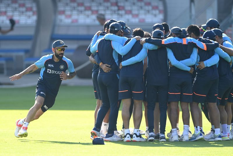 The Indian team during their first training session at Old Trafford