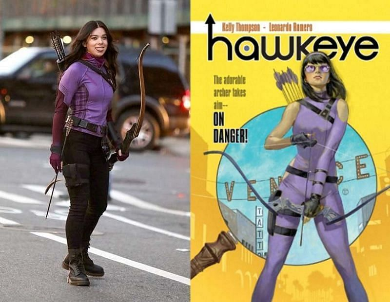Hailee Steinfeld as Kate Bishop in the series, and Kate Bishop in the comics. (Image via Jose Perez/Bauer-Griffin/GC Images and Marvel Comics)