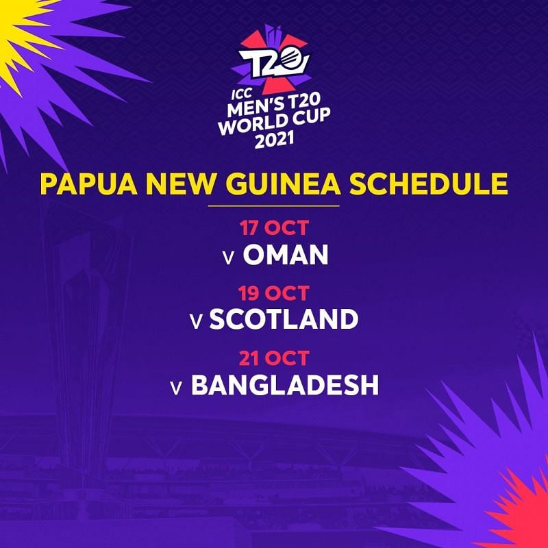 T20 world cup 2021 schedule - Papa New Guinea