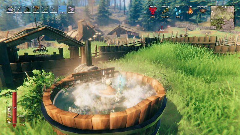 Un jugador empapado en el jacuzzi de Wolheim.  (Imagen a través de Iron Gate Studio)