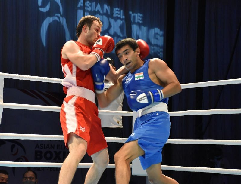 A file photo of boxer <a href='https://www.sportskeeda.com/player/shiva-thapa/' target='_blank' rel='noopener noreferrer'>Shiva Thapa</a> (right) in action.